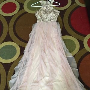 Dresses - Pastel Pink and rose gold prom dress